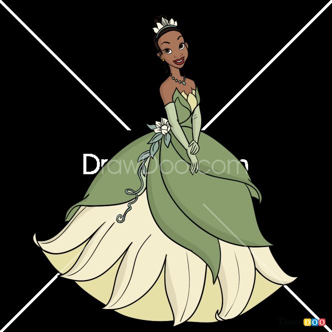 How To Draw Tiana, Cartoon Princess