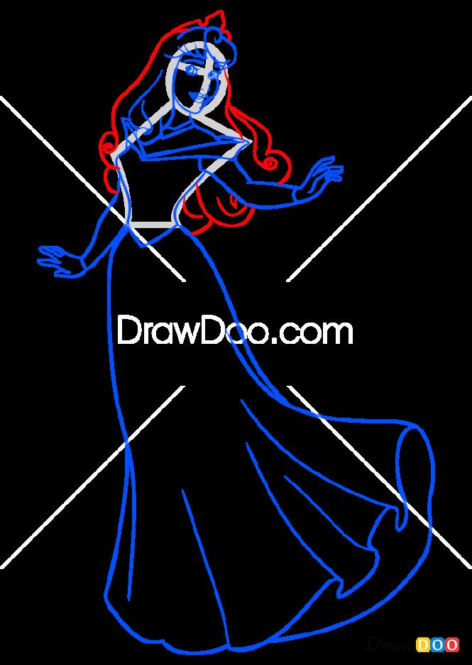 How to Draw Sleeping Beauty, Cartoon Princess