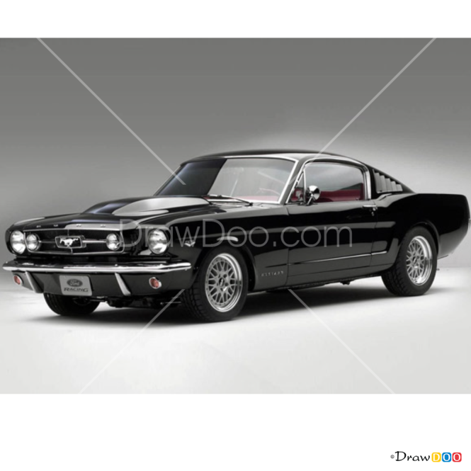 How to Draw Ford Mustang 1967, Retro Cars