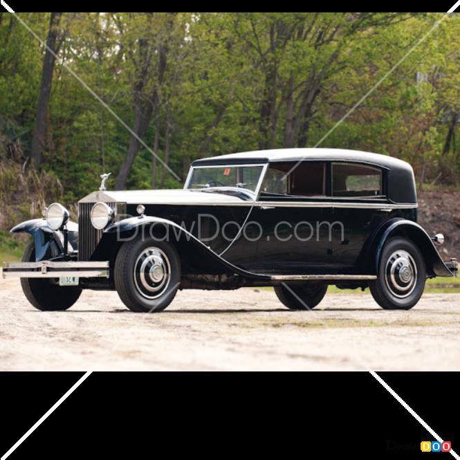 How to Draw Rolls-Royce Phantom 1933, Retro Cars