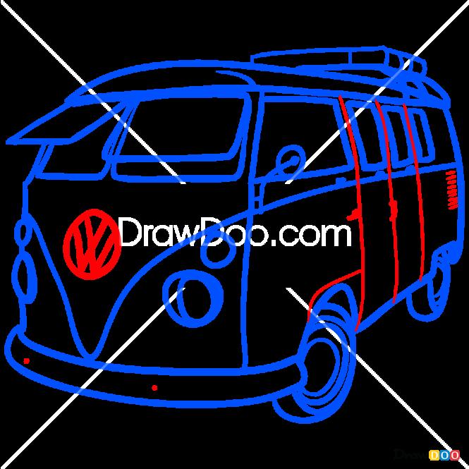 How to Draw Volkswagen Van, Retro Cars