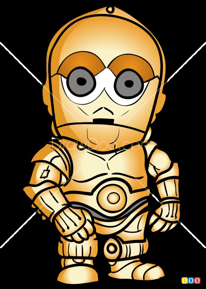 How to Draw C3PO Chibi, Robots