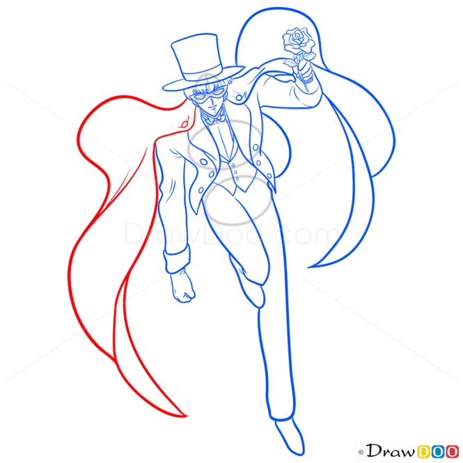 How to Draw Tuxedo Mask, Sailor Moon