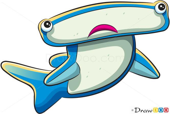 How to Draw Hammerhead Shark, Sea Animals