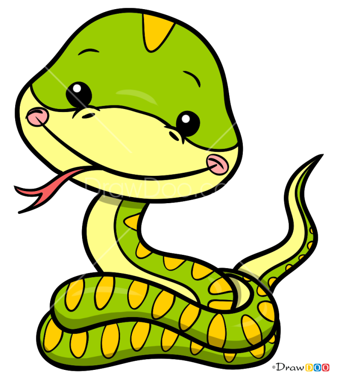 How to Draw Cute Little Snake, Snakes