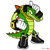 How to Draw Vector the Crocodile, Sonic the Hedgehog