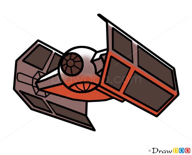 How to Draw Darth Vader TIE fighter, Star Wars, Spaceships