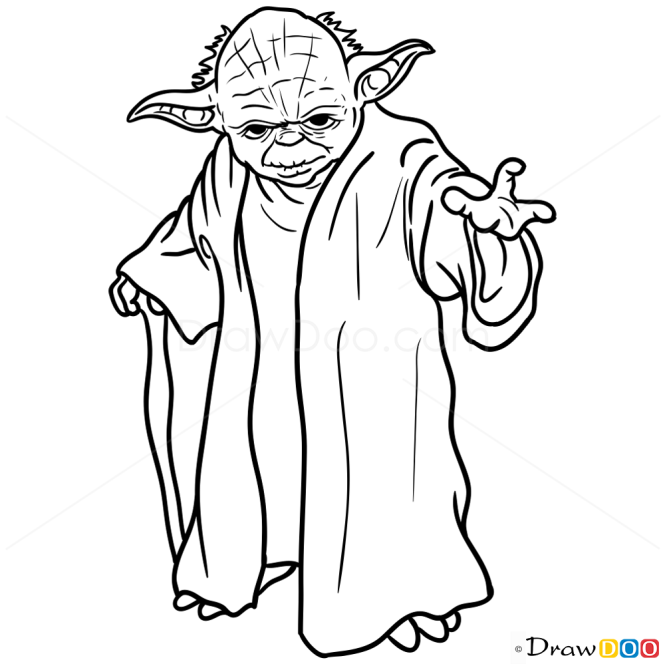 Line Art Yoda : How to draw yoda star wars