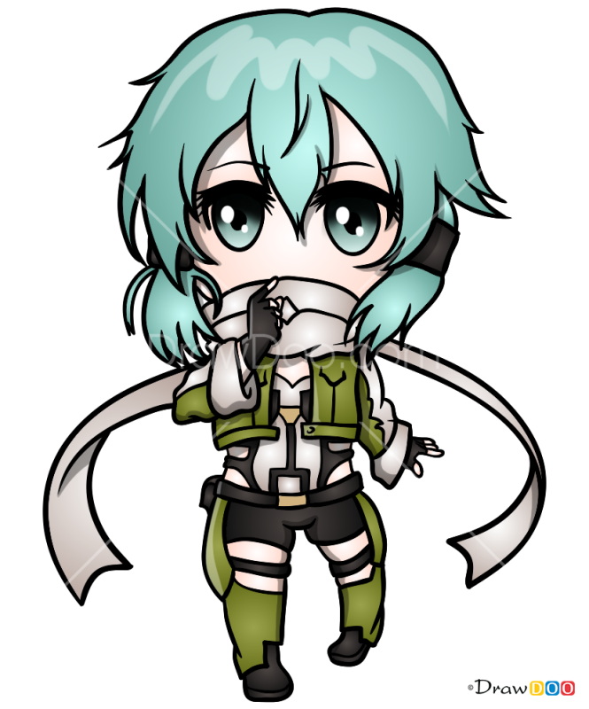 How to Draw Sinon Chibi, Sword Art Online