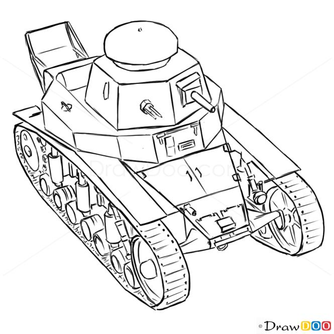 How to Draw Light Tank, MC-1, Tanks