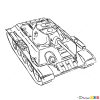 How to Draw Medium Tank, T-34, Tanks