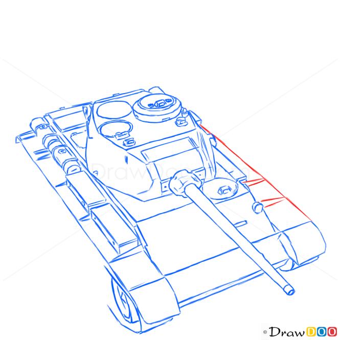How to Draw Medium Tank, T-44, Tanks