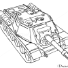 How to Draw Assault gun, SU-152, Tanks