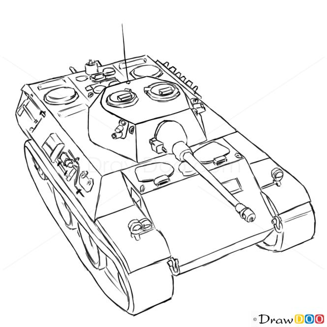 How to Draw Light Tank, VK 1602 Leopard, Tanks