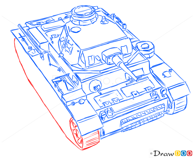 How to Draw Medium Tank, PzKpfw III, Tanks