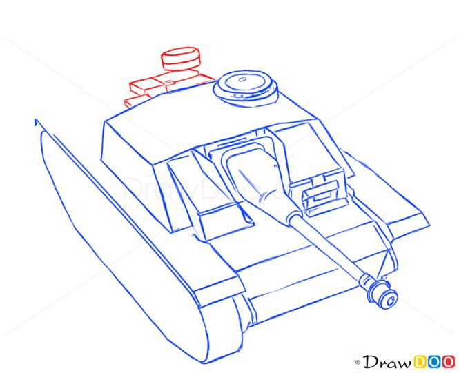 How to Draw Assault gun, StuG III, Tanks