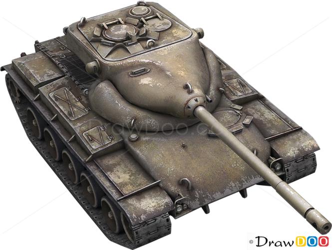 How to Draw Medium Tank, T69, Tanks