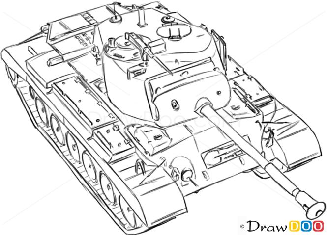 How to Draw Medium Tank, M46 Patton, Tanks