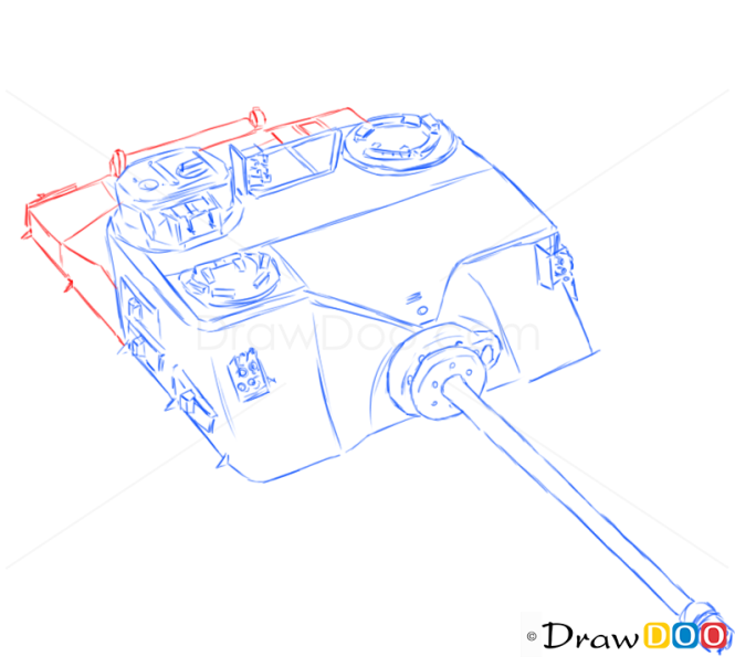 How to Draw Assault Gun, AT39 Tortoise, Tanks