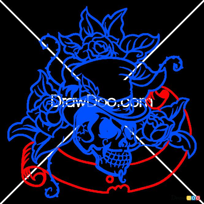 How to Draw Skull, Tattoo Old School