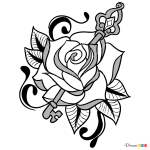 How to Draw Rose and Key, Tattoo Flowers