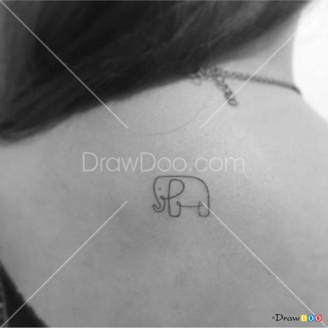 How to Draw Cute Elephant, Tattoo Minimalist