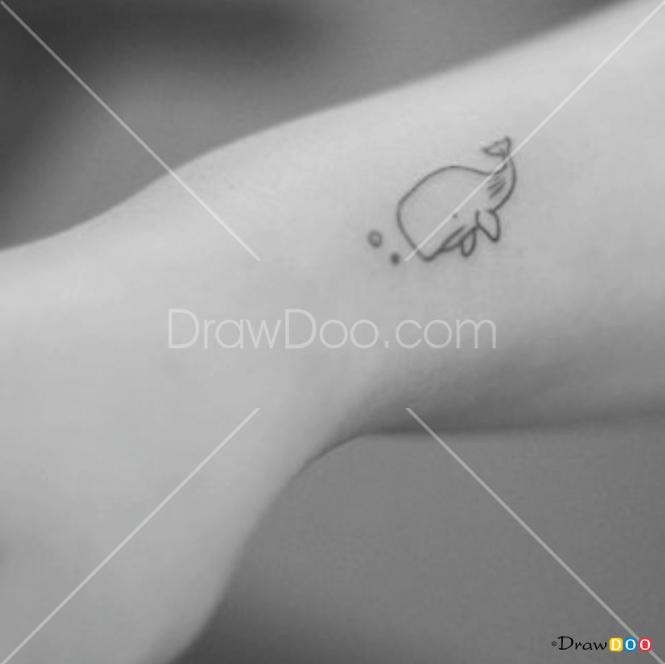How to Draw Baby Whale, Tattoo Minimalist