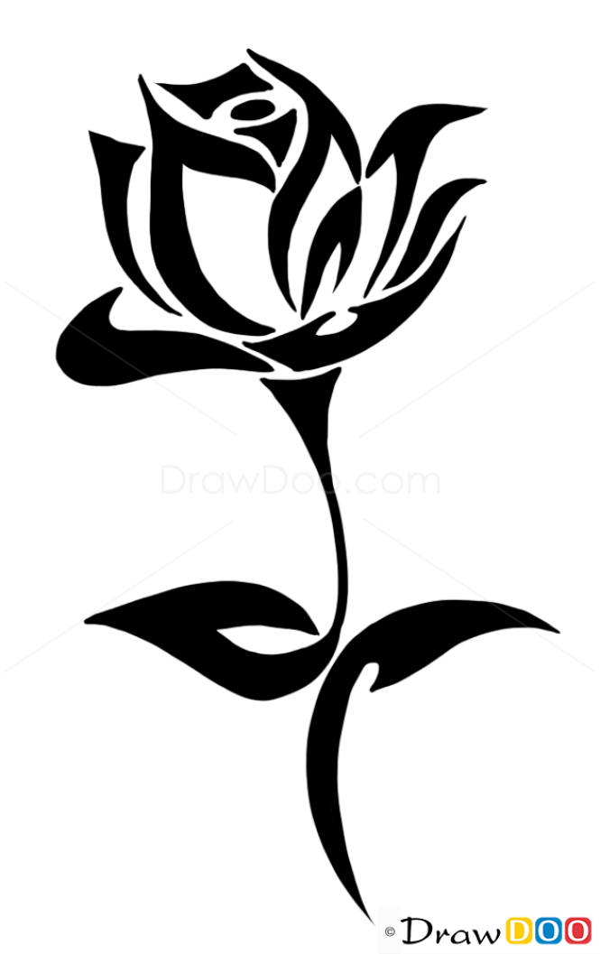 Tattoo Design Line Art : How to draw rose tattoo designs