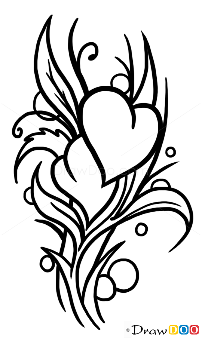 How to Draw Heart and Flowers, Tattoo Designs