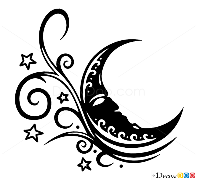 how to draw moon tattoo designs. Black Bedroom Furniture Sets. Home Design Ideas