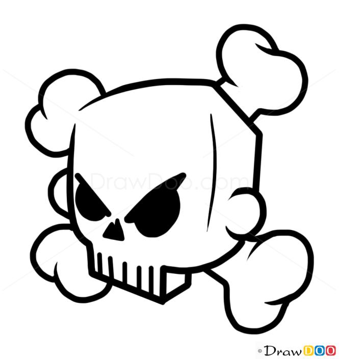 How to Draw Bone Skull, Tattoo Skulls