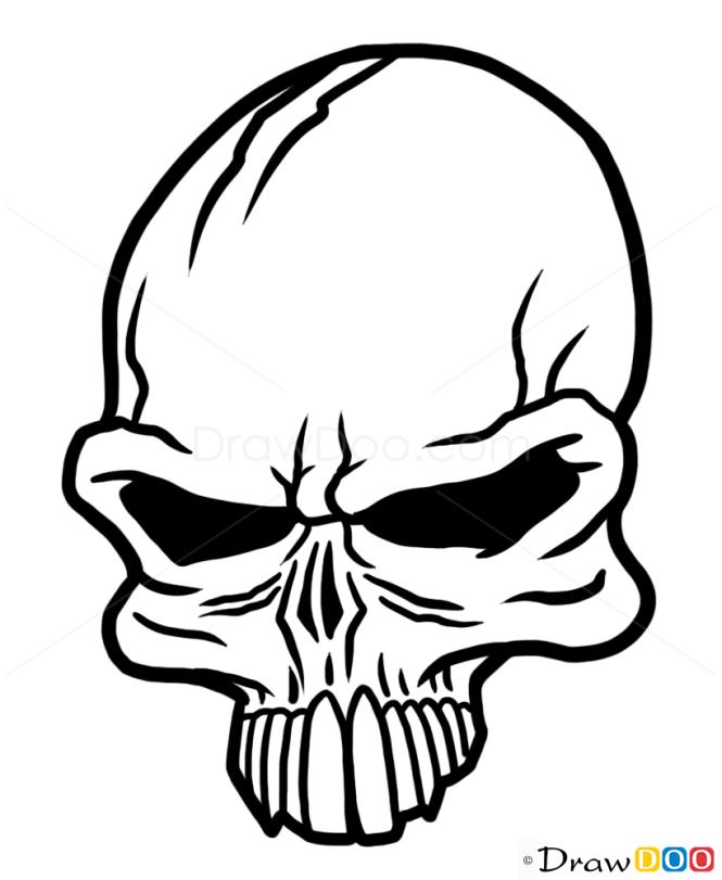 How To Draw Punk Skull Tattoo Skulls