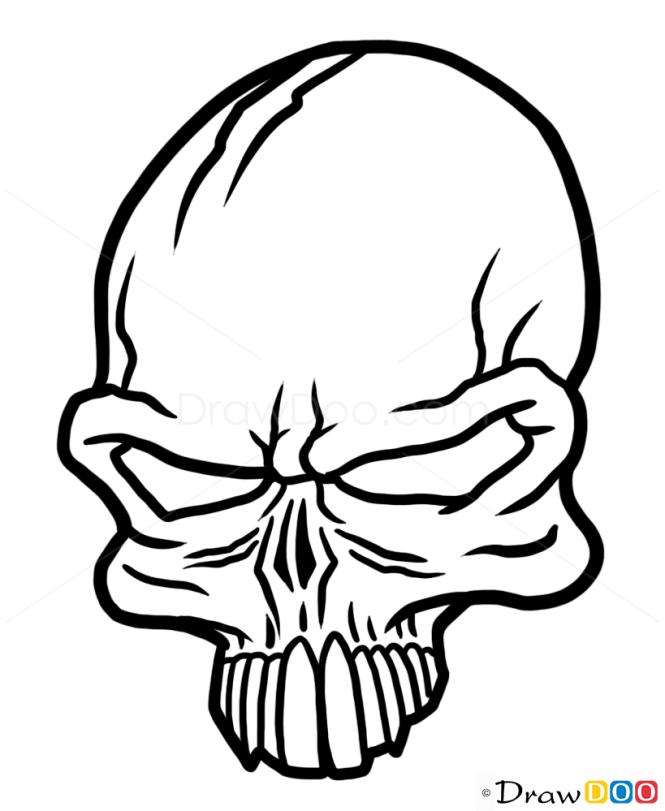 How to Draw Punk Skull, Tattoo Skulls