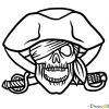 How to Draw Pirate Skull, Tattoo Skulls