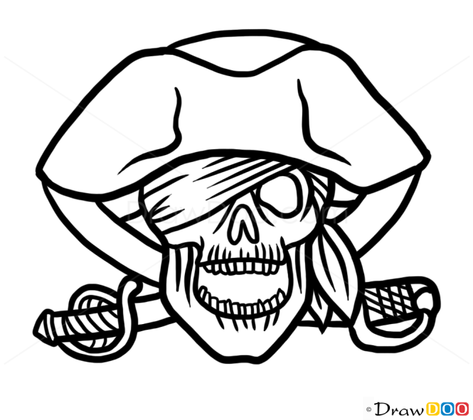 How to Draw Pirate Skull, Tattoo Skulls