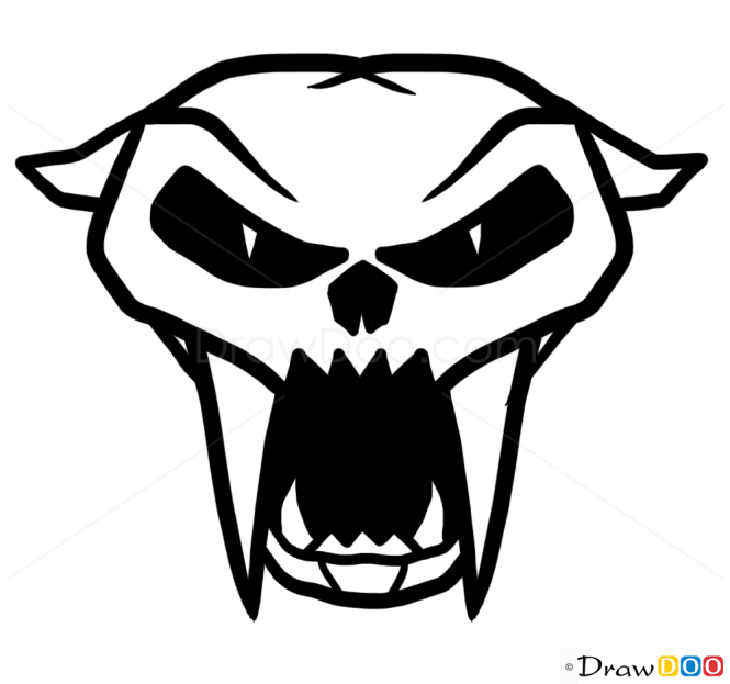 How to Draw Puma Skull, Tattoo Skulls
