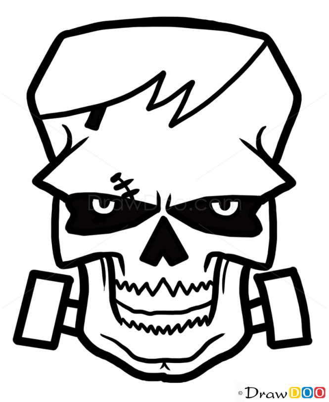 How to Draw Frankenstein  Skull, Tattoo Skulls