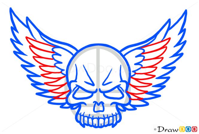 How to Draw Wings Skull, Tattoo Skulls