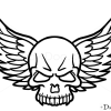 How to Draw Wings Skull, Tattoo Skulls