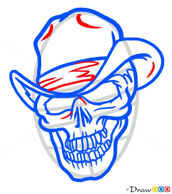 How to Draw Cowboy Skull, Tattoo Skulls