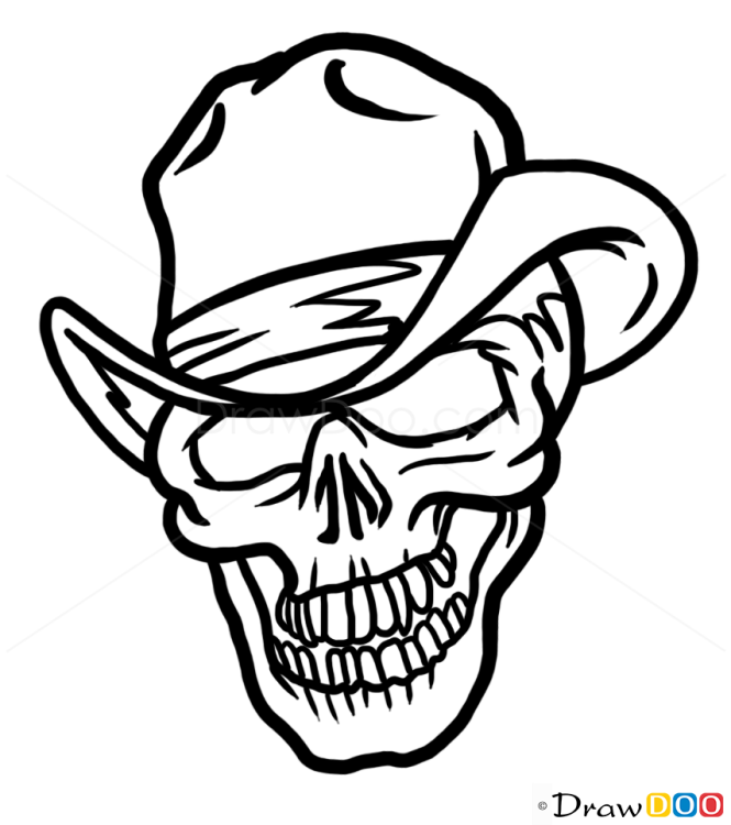 Drawings Easy Skull With Guns: How To Draw Cowboy Skull, Tattoo Skulls