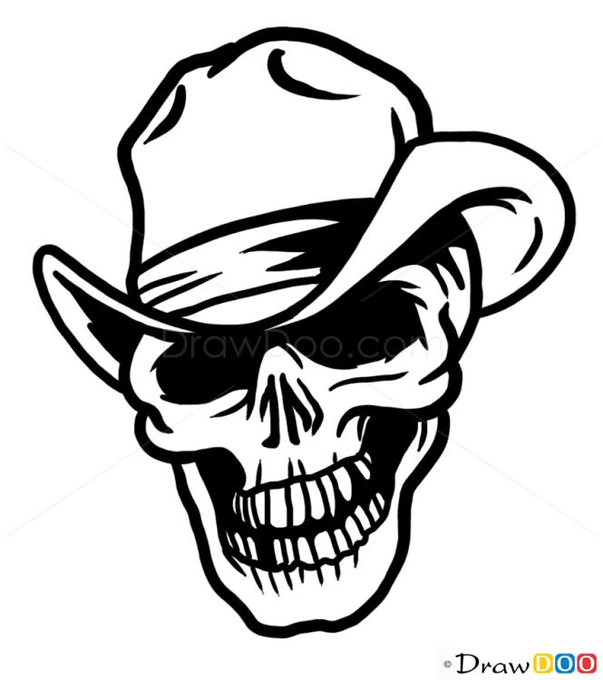 Skull Line Drawing Tattoo : How to draw cowboy skull tattoo skulls