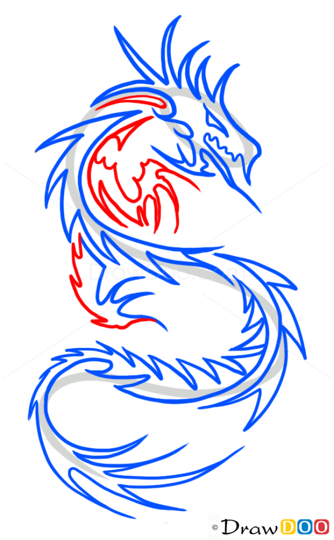 How to Draw Chinese Dragon, Tribal Tattoos