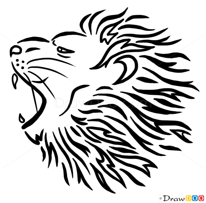 How to Draw Roaring Lion, Tribal Tattoos