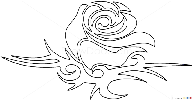 How to draw rose tribal tattoos