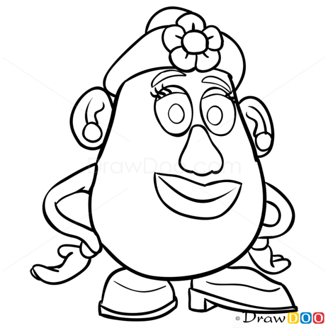 toy story characters coloring pages - how to draw mrs potato head toy story