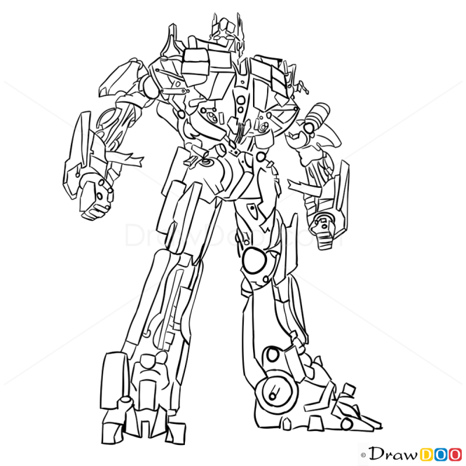 Drawing Lines With D : How to draw optimus prime transformers