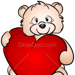 How to Draw Bear with Heart, Valentines