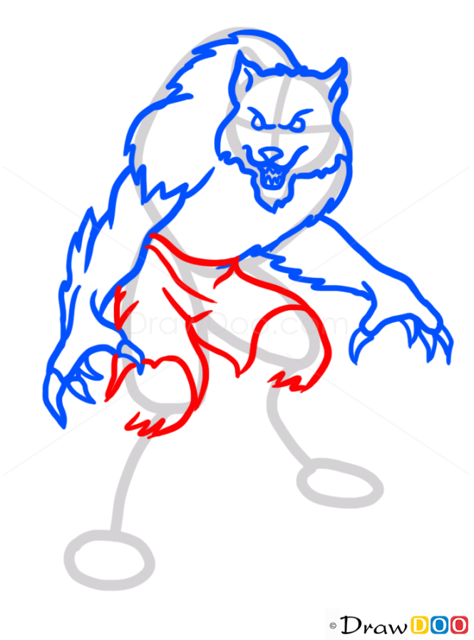 how to draw a werewolf easy