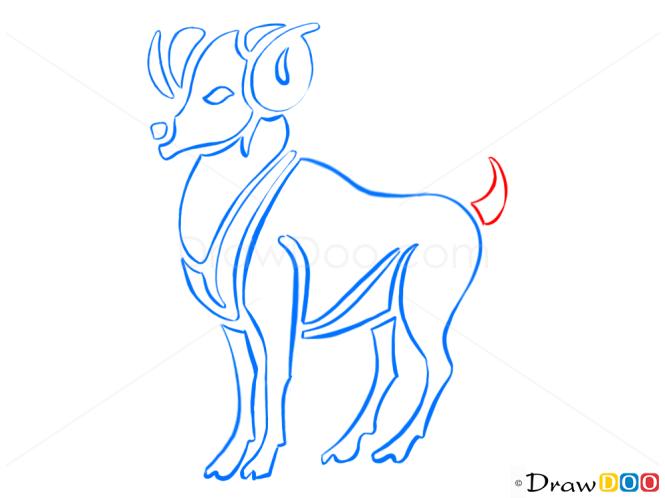 How to Draw Aries, Ram, Zodiac Signs